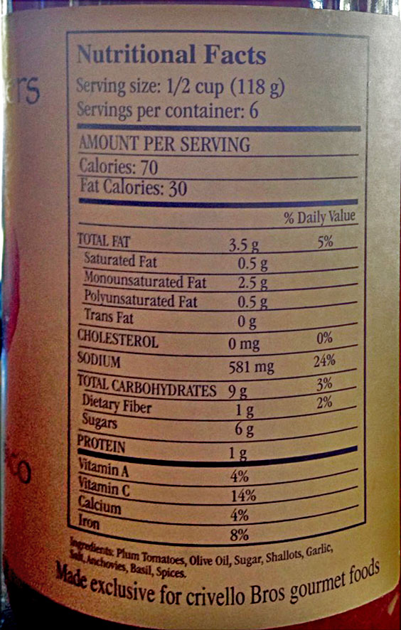 Back ingredient and nutrition label for Italian sauce